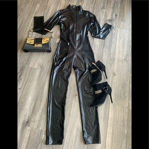 Faux leather Leg Avenue Jumpsuit Black, Sz Medium
